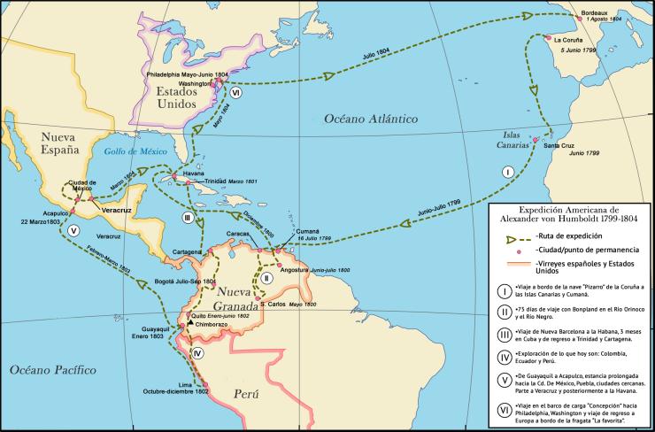 mapa_del_viaje_de_alexander_von_humboldt_en_el_continente_americano